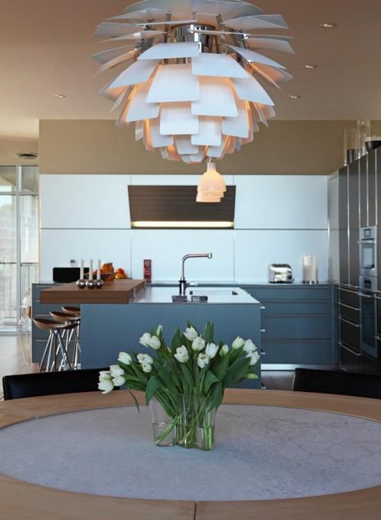 Cozinha com Luminária Elegante