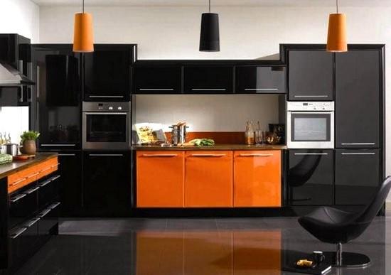 Cozinha Moderna Laranja e Preto