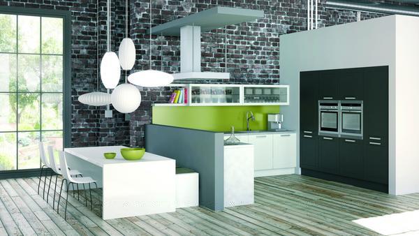Cozinha moderna Tons verdes
